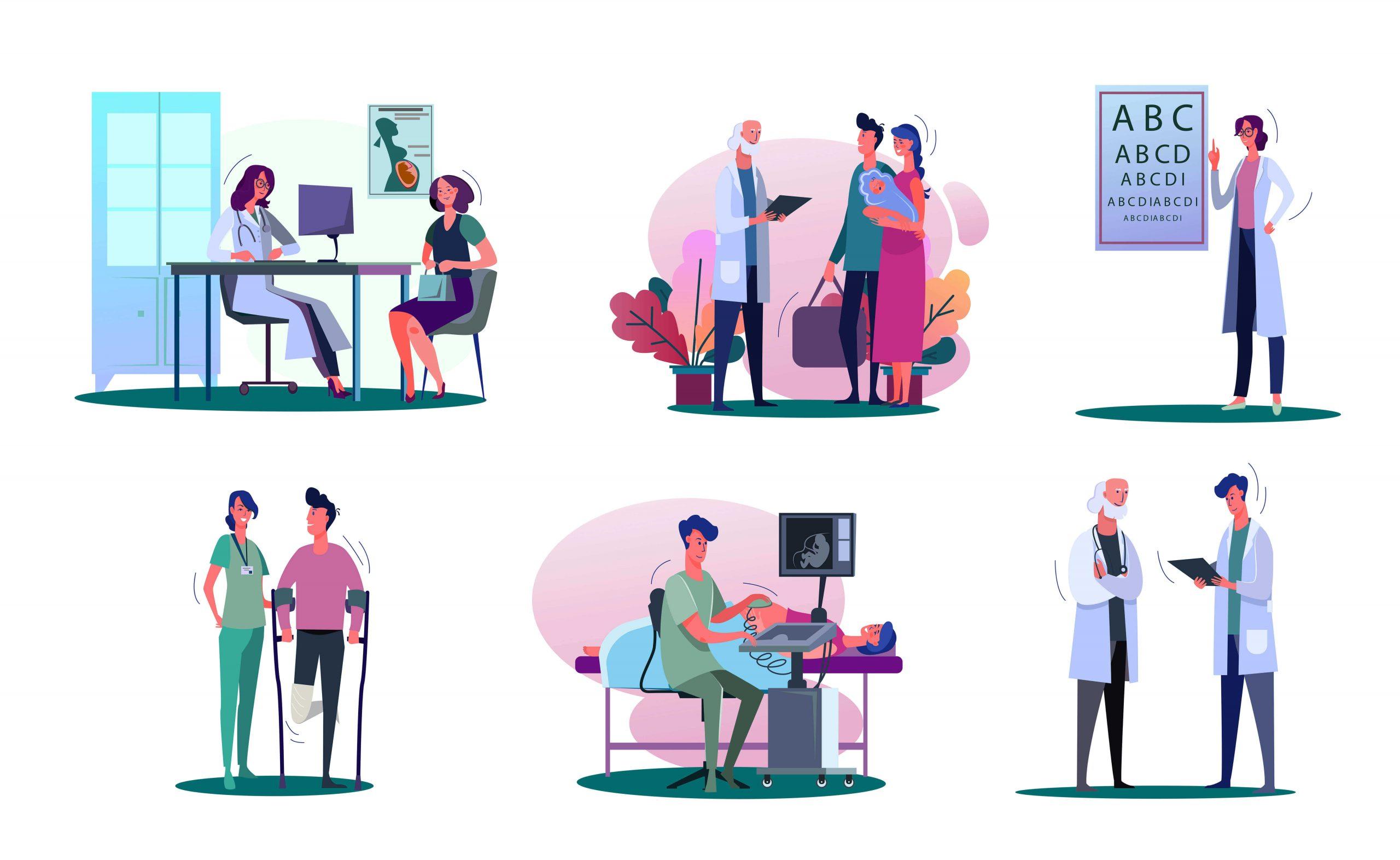 Persone diverse Consulto medico Check up medico Controllo di routine