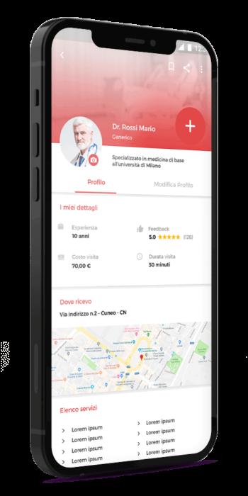 Mockup profilo app medico DoctorApp