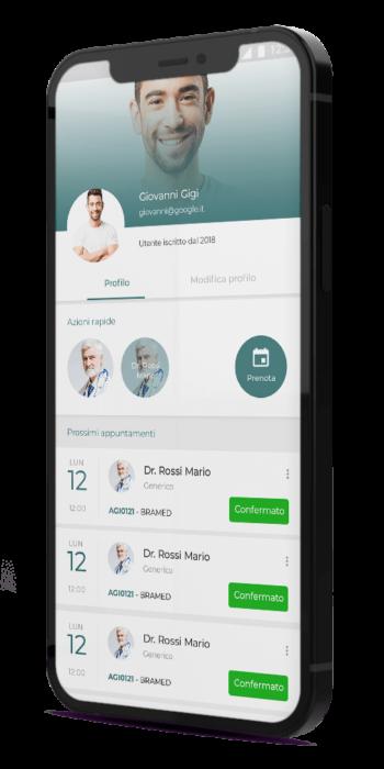 Mockup profilo app paziente DoctorApp